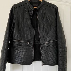 Lord and Taylor Black Faux Leather Bomber Jacket